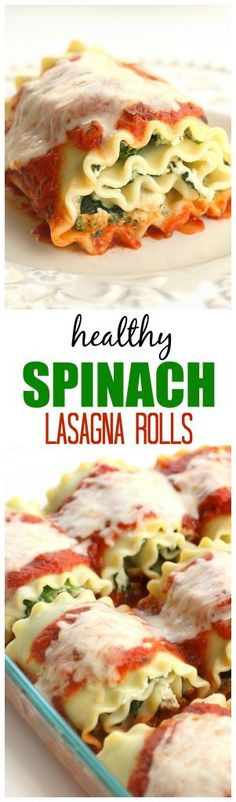 Healthy Spinach Lasagna Rolls - easy, healthy, and filling! the-girl-who-ate-everything.com