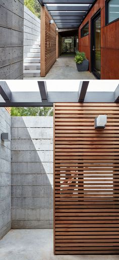 These concrete exterior stairs have a wooden privacy screen.