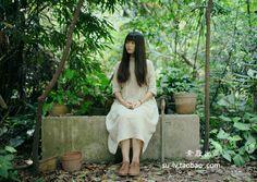 【十年】若水•森女风麻布中袖长裙 森林系连衣裙 静静的就很美好-淘宝网