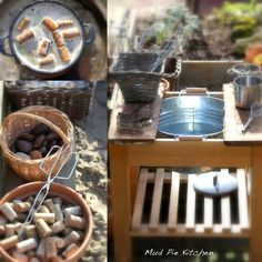 Daily Colours : Natural Play Inspiration- mud pie kitchen- love the idea of incorporating corks