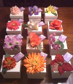 I made these prayer boxes for the Women's Ministry prayer breakfast at my church. Each box is decorated with the flower that its month represents. The ladies born in the same month sat together, and shared their prayer requests with each other and placed them in the boxes to be prayed over.