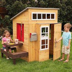 KidKraft Modern Outdoor Wooden Cubby Playhouse