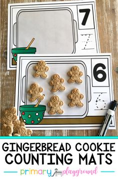 Your little learners will have so much fun practicing their counting with these gingerbread cookie counting mats! Use cookies or mini erasers to count and then practice writing the number. #kindergarten #preschool #countingmats