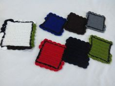 Crochet coasters with shell edging