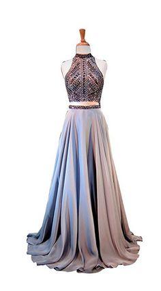 High Neck Open Back Rhinestone Beading Chiffon Evening Dress
