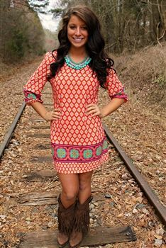 like the general idea of brightly colored dress with western boots - Life And Shape