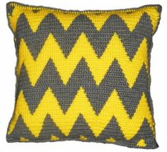 Chevron Crochet Decorative Pillow by LoveArtPigs on Etsy