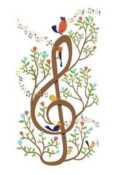 Treble clef tree with birds