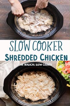 Slow Cooker Shredded Chicken – The Magical Slow Cooker® – Slow Cooker Recipes Slow Cooker Shredded Chicken Slow Cooker Shredded Chicken is great recipe to have in your back pocket for recipes that called for cooked chicken. -The Magical Slow Cooker Low Carb Crockpot Chicken, Slow Cooker Shredded Chicken, Stew Chicken Recipe, Easy Chicken Recipes, How To Cook Chicken, Chicken Cooker, Healthy Shredded Chicken Recipes, Easy Shredded Chicken, Keto Chicken