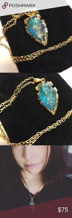 Blue Quartz Arrow Agate Necklace Beautiful raw and colorful blue Quartz necklace. This is hand crafted and glazed with natural colors. The arrow is carved with 24k gold plating. Hand crafted with love by Twilight Gypsy Collective in the USA. Twilight Gypsy Collective Jewelry Necklaces