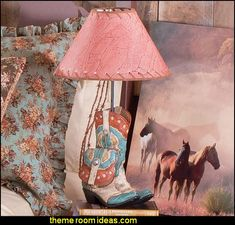 Old Time Boot Lamp cowgirl bedroom furnishings cowgirl bedroom decor