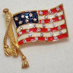 Vintage EISENBERG ICE FLAG PIN Tac Style Enamel Rhinestones Patriotic USA (Ebay)