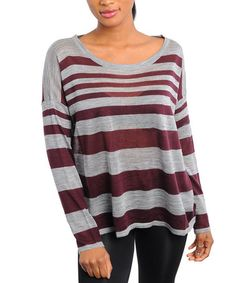 Take a look at this Gray & Wine Stripe Knit Top by Ami Sanzuri on #zulily today!