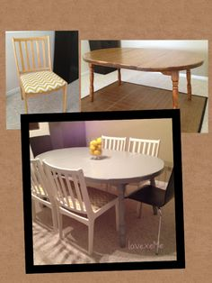 Before & After: Our Dining Room Table and Chairs  I reupholstered the chairs with durable outdoor yellow and white chevron print fabric, painted the chairs white and the dining table grey both finished with clear coat of lacquer (done the professional way by a.professional, lol). Oh, the perks to being married to a contractor!