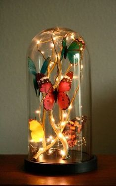 How to make a glass cloche filled with butterflies, fairy lights and golden branches | Magical Daydream