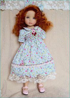 """""""Ribbons and Smocks """" Dress for Effner Little Darling 13"""" Doll 