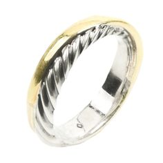 David Yurman Cable Crossover Ring  Sterling Silver & 18k Yellow Gold Classic Crossover Cable Ring