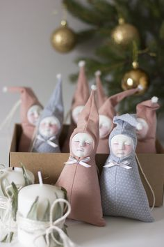 Blush pink nursery dolls filled with dried lavenders. By Adele Po.