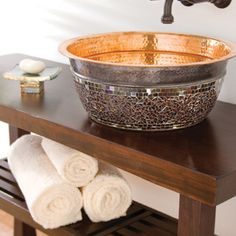 Brilliant and romantic, this #ThompsonTraders Murano sink exemplifies the best of everything. It features a polished copper interior and oil-rubbed bronze finish to accentuate its one-of-a-kind mosaic. This #sink is 100% hand made of pure copper. The beautiful exterior mirror mosaic is hand placed.