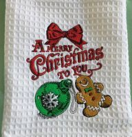 Bath towel with Christmas ball and Gingerbread embroidery design