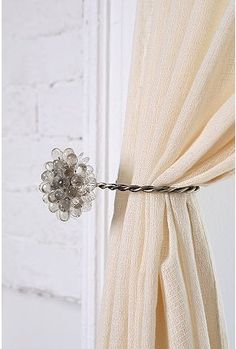 Antique Brooch Curtain Tie-Back - Urban Outfitters First College Apartment, Urban Outfitters, Interior Design Elements, Custom Window Treatments, Antique Brooches, Pink Bedding, Curtain Tie Backs, Big Girl Rooms, White Furniture
