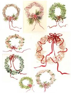 Painting Wreaths for Christmas Holiday Seasonal Cards Susie Short