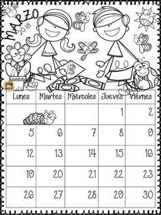 tu tarea: CALENDARIO MARZO Preschool Names, Tools For Teaching, Teacher Planner, Bullet Journal Art, Love My Job, Free Coloring Pages, Candyland, Kindergarten, Snoopy