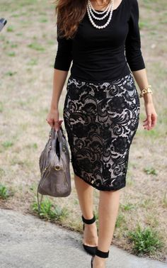 Lace skirt, black shirt
