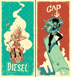 I officially love all fictional characters who go by the name Cap and carry large round objects on their backs. | Diesel/Cap poster set by tysonhesse