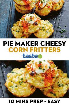 Mini Pie Recipes, Side Recipes, Good Healthy Recipes, Vegetarian Recipes, Cooking Recipes, Making Pies, Corn Fritter Recipes, Corn Fritters, Easy Eat