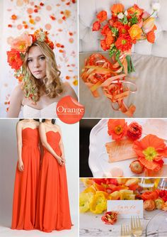 orange wedding color ideas and bridesmaid dresses styles for wedding 2015