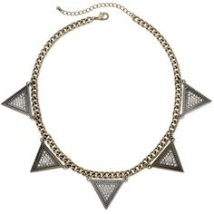 Mixit™ Gold-Tone Triangle Necklace ($12) ❤ liked on Polyvore featuring jewelry, necklaces, triangle jewelry, gold tone necklace, goldtone jewelry, curb chain necklace and gold tone jewelry