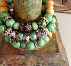 Turquoise Stacking bracelet set // Czech by CountryChicCharms, $68.00...very cool!!!