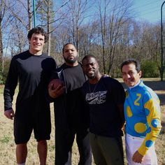 Ice Cube doing promo with Luke Kuechly, Kevin Hart, and Victor Espinoza (American Pharoah's jockey/Tripple Crown winner). Derby, Middle Linebacker, Luke Kuechly, Panther Nation, American Pharoah, The Other Guys, Kevin Hart, Home Team, Wellness Fitness