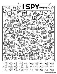 Free Printable I Spy Camping Kids Activity - Paper Trail Design - Free Printabl. - Free Printable I Spy Camping Kids Activity – Paper Trail Design – Free Printable I Spy Camping - Camping Activities For Kids, Camping With Kids, Learning Activities, Kids Learning, Camping Ideas, Camping Recipes, Health Activities, Back To School Activities, Indoor Activities