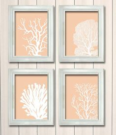 Four lovely Coral Prints. White on peach  A set of four art prints  Original artwork by NauticalNell / FabFunky    Our prints are lovingly printed