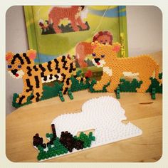 We're working on a whole big cat family; next up a black jaguar. Big Cat Family, Black Jaguar, Hama Beads Patterns, Craft Materials, Perler Beads, Dinosaur Stuffed Animal, Crafting, Kids Rugs, Costumes