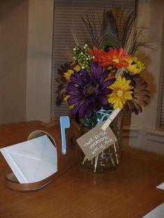 Mason Jar Flowers and Message Mailbox :  wedding blue brown centerpiece country diy fall flowers mailbox mason jar reception rustic sunflower Picture 274