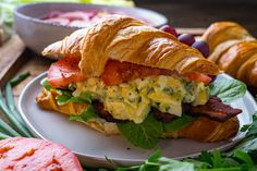 BLT (aka Bacon Lettuce and Tomato) sandwiches combined with egg salad sandwiches to create a glorious new sandwich that is even better! Fun Cooking, Cooking Recipes, Lettuce Sandwich, Best Sandwich Recipes, Salsa, Spring Salad, Tea Sandwiches, Bacon Egg, How To Cook Eggs