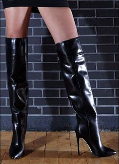 Best classic cars and more! Knee High Heels, Leather High Heels, Black High Heels, High Heels Stilettos, Thigh High Boots, High Heel Boots, Heeled Boots, Leather Boots, Killer Heels