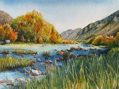 "Peaceful mountain, lake and foliage scene. Quiet Place.  A decorative CERAMIC TILE wall  art  -  8"" x 10"".  Free U.S. shipping.. $48.00, via Etsy."