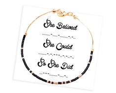 She Believed She Could So She Did Bracelet  Morse by HippieThings