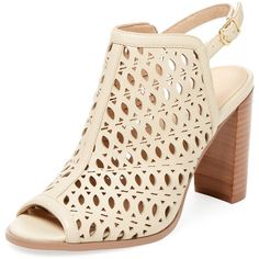 Renvy Women's Laser-Cut Slingback Bootie - Cream/Tan, Size 10 ($109) ❤ liked on Polyvore featuring shoes, boots, ankle booties, leather ankle boots, tan booties, open toe bootie, open toe booties and cutout ankle boots