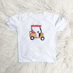 Golf cart watercolor kids tee
