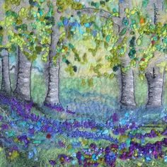 Design 7 Bluebell Woods One of my new designs taken from an original framed picture I sold at my last exhibition. Entirely wet felted with… Mixed Media Artwork, Mixed Media Artists, Felt Tree, Caribbean Art, Felt Pictures, Funky Art, Quilling Art, Textile Artists, Whimsical Art