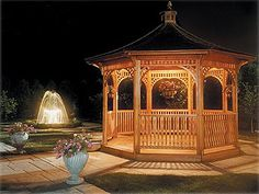 I always wanted a gazebo like this in my backyard Hot Tub Gazebo, Patio Gazebo, Pergola, Outdoor Spaces, Outdoor Living, Gazebo Lighting, Large Gazebo, Gazebo Plans, Raised Bed Garden Design
