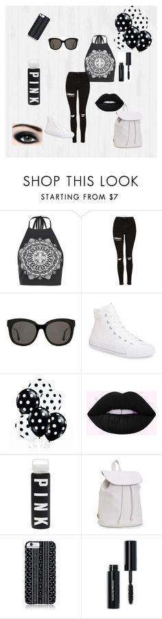 """""""Black and white"""" by cant-find-a-username ❤ liked on Polyvore featuring Boohoo, Topshop, Gentle Monster, Converse, Aéropostale, Savannah Hayes, Max Factor and Bobbi Brown Cosmetics"""
