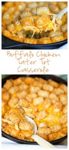 Buffalo Chicken Tater Tot Casserole