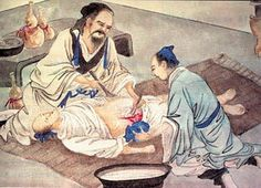 """Hua Tuo (c.140–208), Chinese physician was first to use general anaesthetic combining wine with a herbal concoction called máfèisàn (麻沸散, lit. """"cannabis boil powder""""). Victor H. Mair describes him as """"many hundreds of years ahead of his time in medical knowledge and practice"""". Besides surgery and anaesthesia, he was known for acupuncture, moxibustion, herbal medicine, and medical Daoyin exercises."""