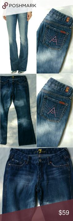 """7 For All Mankind """"A"""" Pocket Low Rise Bootcut Jean 7 FAM Pink """"A"""" Pocket Low Rise Bootcut Jean size 29. In lovingly worn but good condition. Has factory distressing throughout and a faint distressing towards inner right thigh of pant leg as pictured in 3rd photo. Can hardly notice but worth mentioning. 30.1"""" inseam. Please let me know if you have any questions. No trades! 7 For All Mankind Pants Boot Cut & Flare"""
